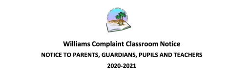 Williams Complaint Classroom Notice