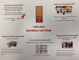 Coral Mountain Academy Red Ribbon Spirit Week 2020-2021  (Oct. 23-31)