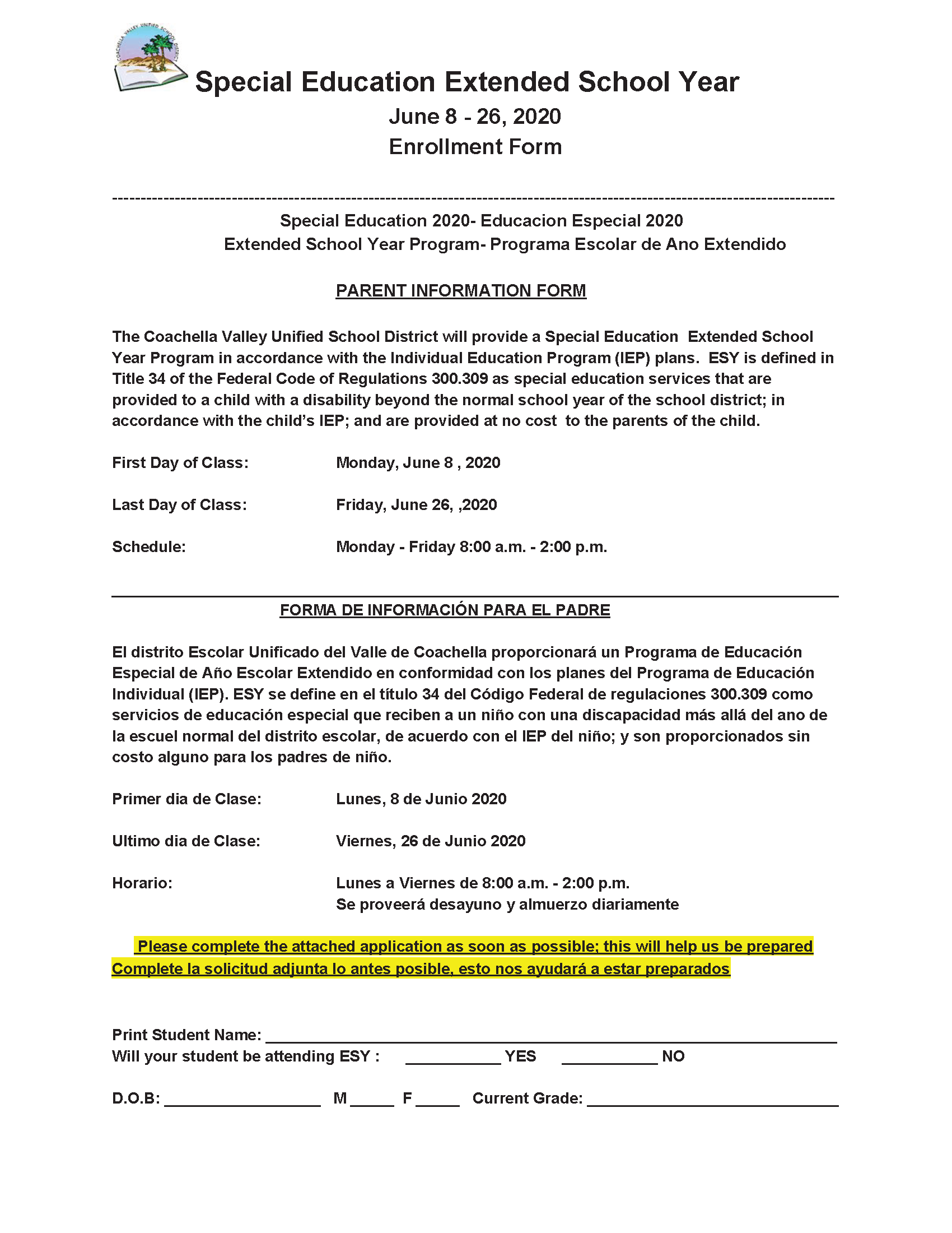 CVUSD Announcement: English Spanish ESY 2020 Application